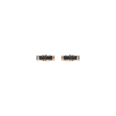 Crystaldust Cuff Links, Black, Rose-gold tone plated