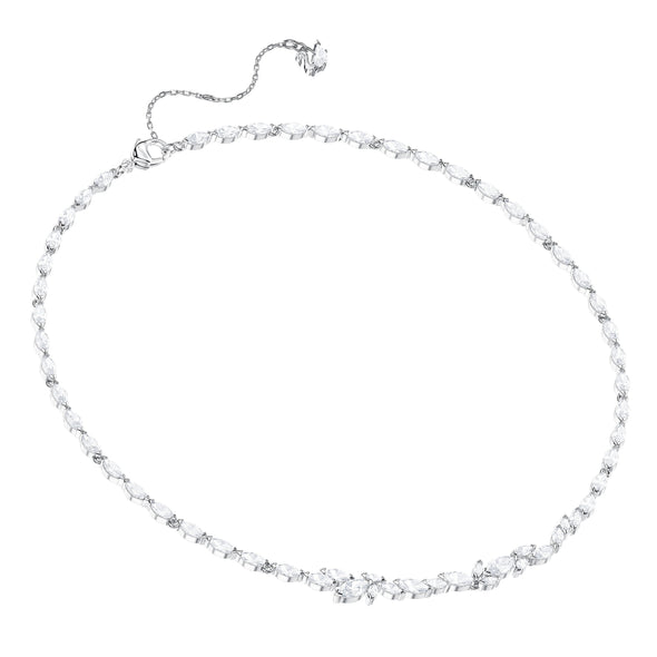 Louison Set, White, Rhodium plated