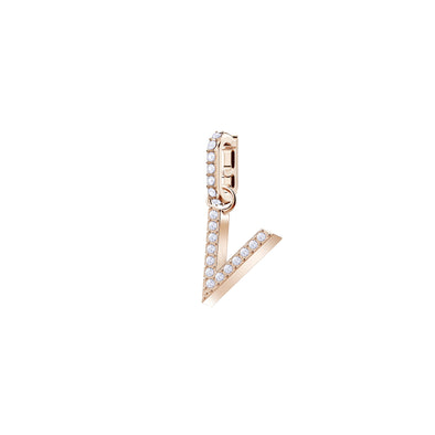 Swarovski Remix Collection Charm V, White, Rose-gold tone plated