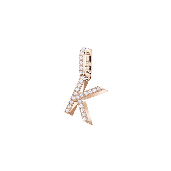 Swarovski Remix Collection Charm K, White, Rose-gold tone plated