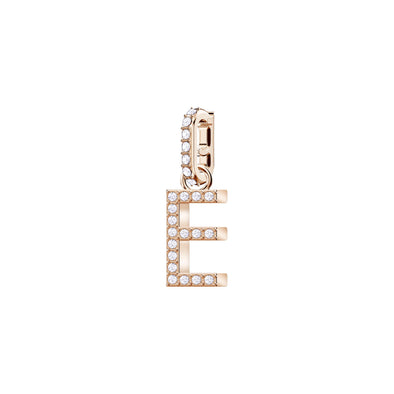 Swarovski Remix Collection Charm E, White, Rose-gold tone plated