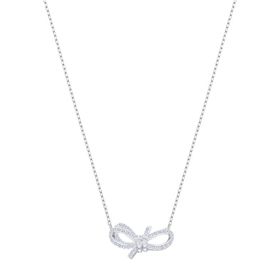 Lifelong Bow Necklace, White, Rhodium plated