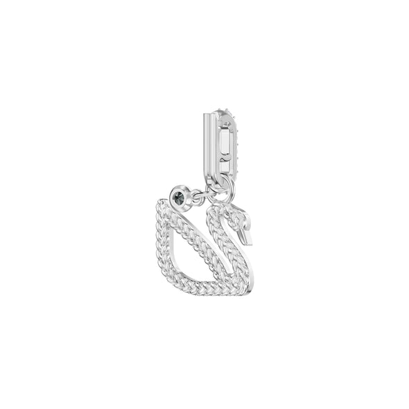 Swarovski Remix Collection Swan Charm, White, Rhodium plated