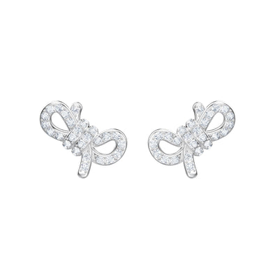 Lifelong Bow Pierced Earrings, White, Rhodium plated