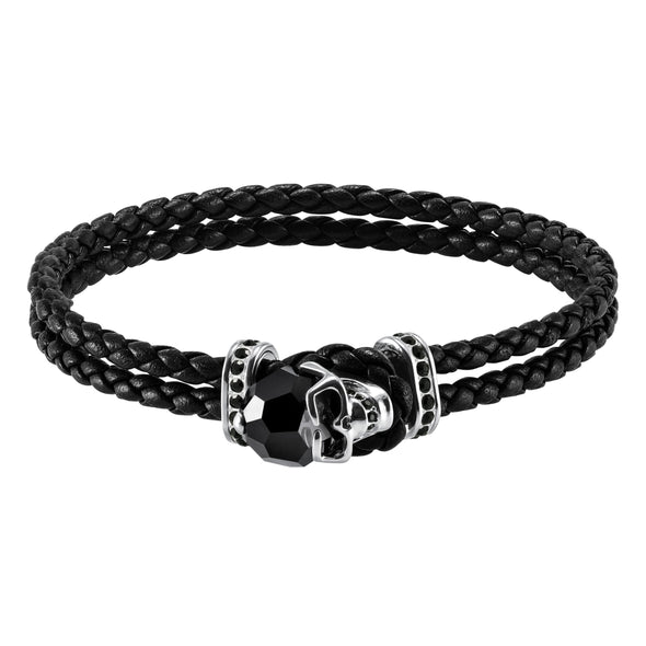 Taddeo Bracelet, Leather, Black, Palladium plated