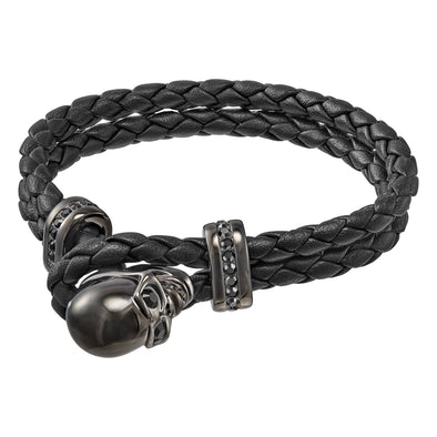 Fran Bracelet, Leather, Black, Gun Metal plated