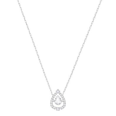 Swarovski Sparkling Dance Pear Necklace, White, Rhodium plated