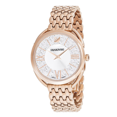 Crystalline Glam Watch, Metal bracelet, White, Rose-gold tone PVD