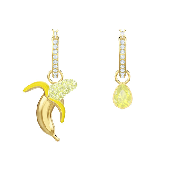 No Regrets Banana Pierced Earrings, Multi-colored, Gold-tone plated