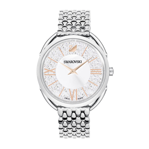 Crystalline Glam Watch, Metal bracelet, White, Stainless steel