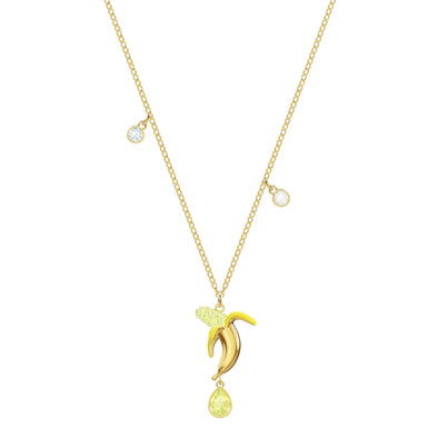 No Regrets Banana Pendant, Multi-colored, Gold-tone plated