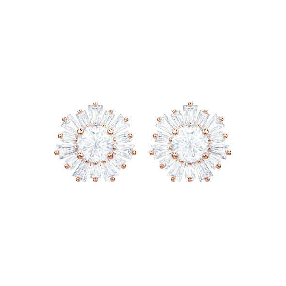 Sunshine Pierced Earrings, White, Rose-gold tone plated