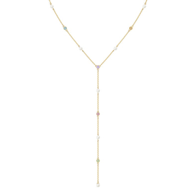 No Regrets Y Necklace, Multi-colored, Gold-tone plated