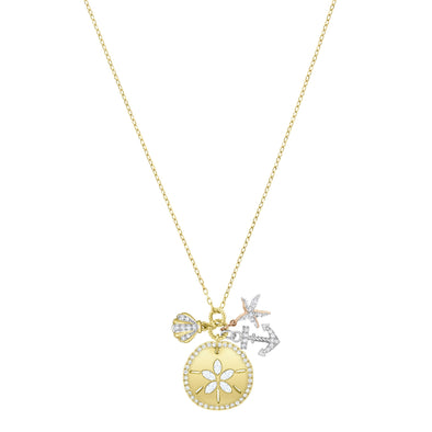Ocean Sand Coin Necklace, White, Gold-tone plated
