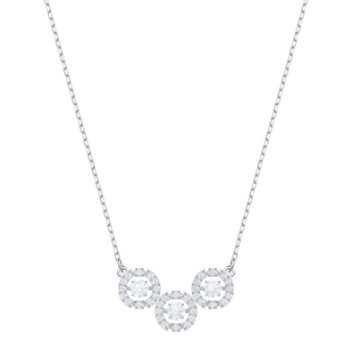Swarovski Sparkling Dance Trilogy Necklace, White, Rhodium plated