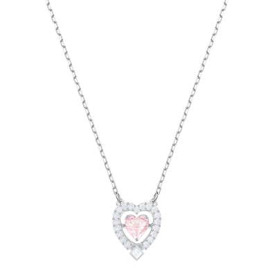 Swarovski Sparkling Dance Heart Necklace, Pink, Rhodium plated