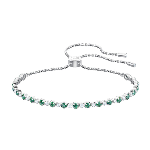 Subtle Bracelet, Green, Rhodium plated