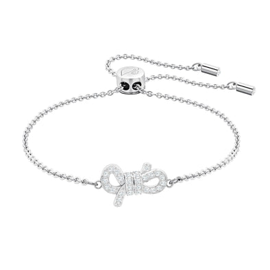 Lifelong Bow Bracelet, White, Rhodium plated