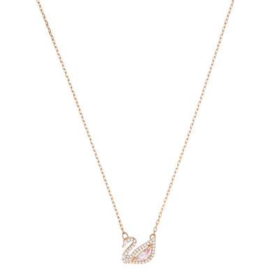 Dazzling Swan Necklace, Multi-colored, Rose-gold tone plated