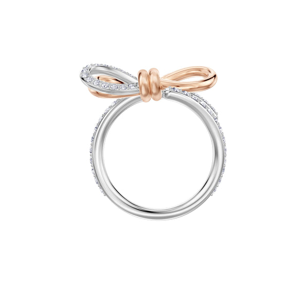 Lifelong Bow Ring, Medium, White, Mixed metal finish