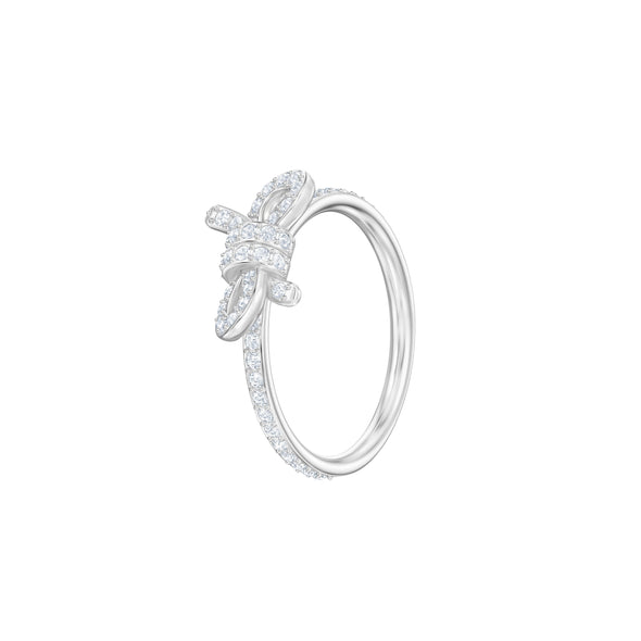 Lifelong Bow Ring, Small, White, Rhodium plated