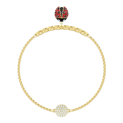 Swarovski Remix Collection Ladybug Strand, Multi-colored, Gold-tone plated