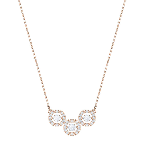 Swarovski Sparkling Dance Trilogy Necklace, White, Rose-gold tone plated