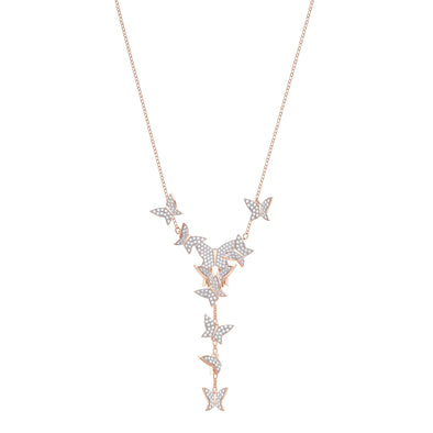 Lilia Y Necklace, White, Rose-gold tone plated