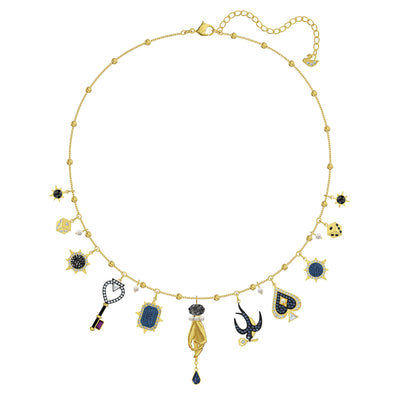Tarot Magic Necklace, Multi-colored, Gold-tone plated