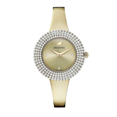 Crystal Rose Watch, Metal Bracelet, Golden, Champagne-gold tone PVD
