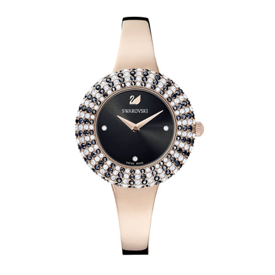 Crystal Rose Watch, Metal Bracelet, Black, Rose-gold tone PVD