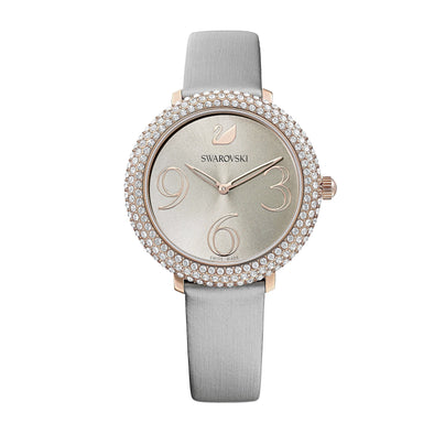Crystal Frost Watch, Leather Strap, Gray, Rose-gold tone PVD