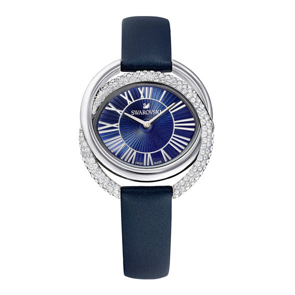 Duo Watch, Leather Strap, Blue, Stainless Steel