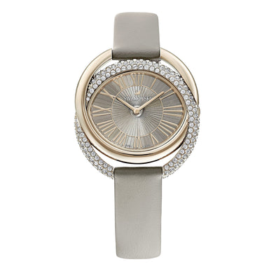 Duo Watch, Leather Strap, Gray, Champagne-gold tone PVD