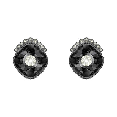 Black Baroque Stud Pierced Earrings, Dark gray, Ruthenium plated