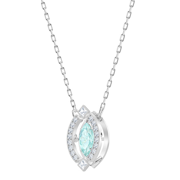 Swarovski Sparkling Dance Necklace, Green, Rhodium plated