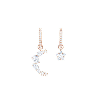 Penélope Cruz Moonsun Drop Pierced Earrings, White, Rose-Gold Tone Plated
