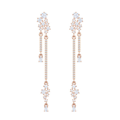 Penélope Cruz Moonsun Drop Pierced Earrings, Long, White, Rose-Gold Tone Plated