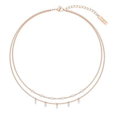 Penélope Cruz Moonsun Double Necklace, White, Rose-Gold Tone Plated
