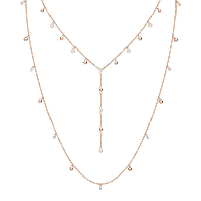 Penélope Cruz Moonsun Necklace, Long, White, Rose-Gold Tone Plated