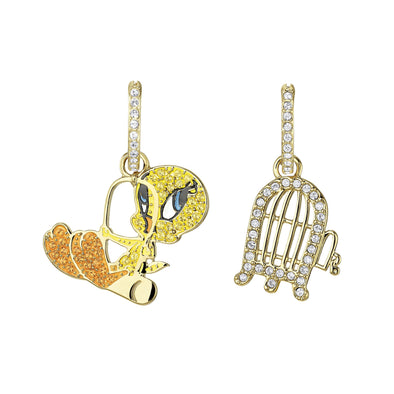 Looney Tunes Tweety Hoop Pierced Earrings, Multi-colored, Gold-tone plated