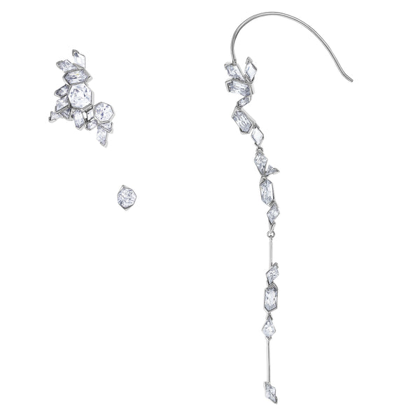 Ice Crack Ear Cuff, White, Ruthenium plated