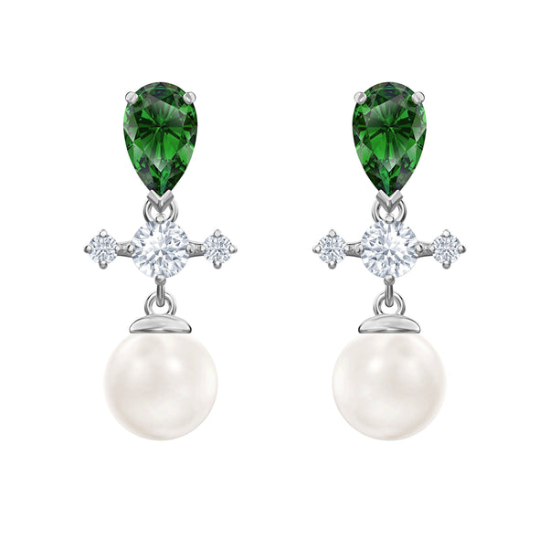 Perfection Drop Pierced Earrings, Green, Rhodium plated