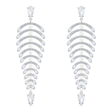 Polar Bestiary Chandelier Pierced Earrings, White, Rhodium plated