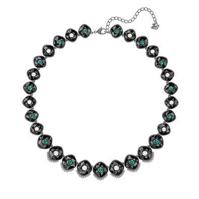 Black Baroque Necklace, Multi-colored, Ruthenium plated