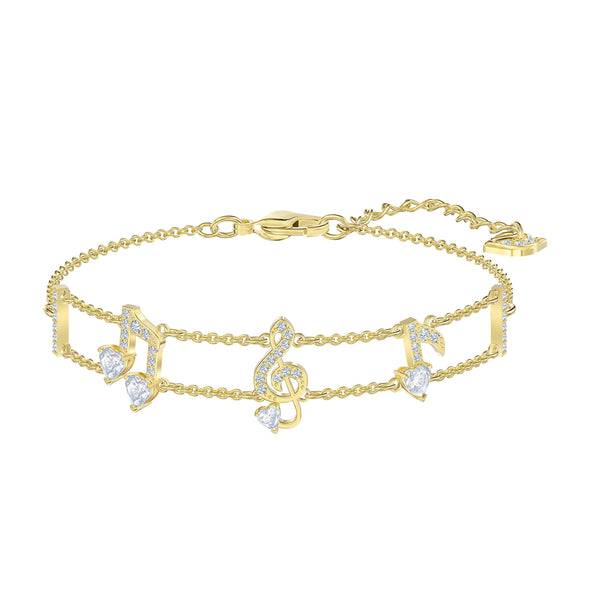Pleasant Bracelet, White, Gold-tone plated