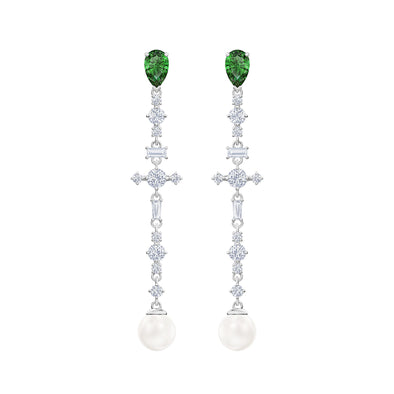 Perfection Pierced Earrings, Green, Rhodium plated