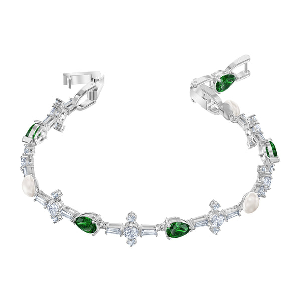 Perfection Bracelet, Green, Rhodium plated