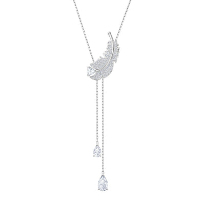 Nice Y Necklace, White, Rhodium plated