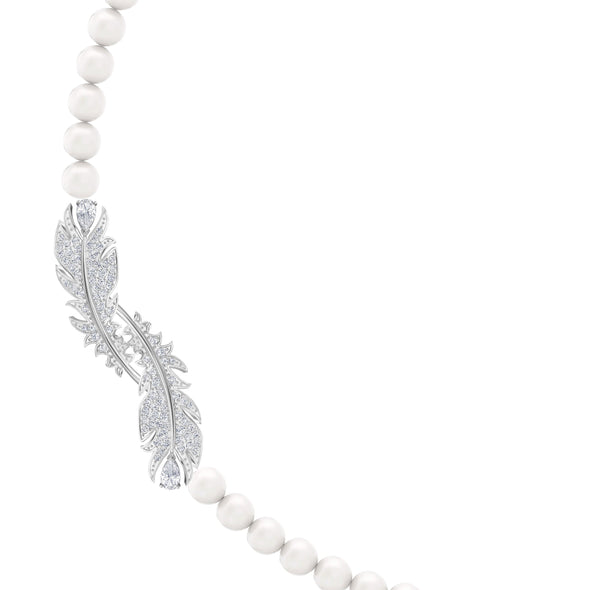 Nice Necklace, White, Rhodium plated
